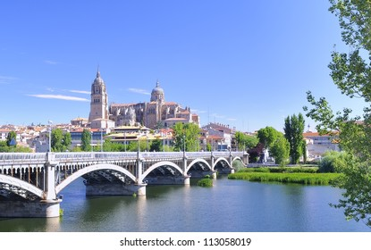View Salamanca cathedral fron the Tormes river.