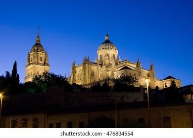 A view of Salamanca Cathedral at night