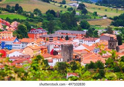 View of Salas with castle.  Asturias