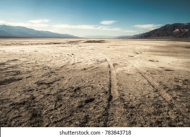 View of a salt desert from badwater basin, Death Valley National Park - California