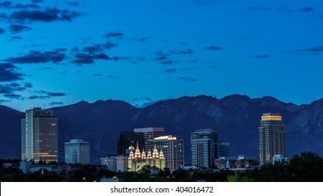 View of Salt Lake city skyline at night