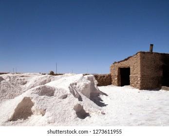 A view from a salt mine near Uyuni town in Salar de Uyuni, Bolivia. Salar de Uyuni is the world's largest salt flat.