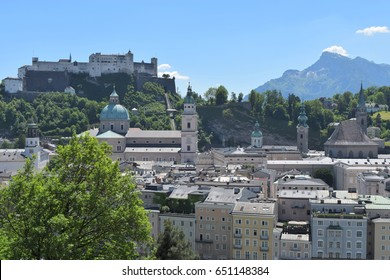 View of Salzburg, Austria with castle, cathedral and mountain
