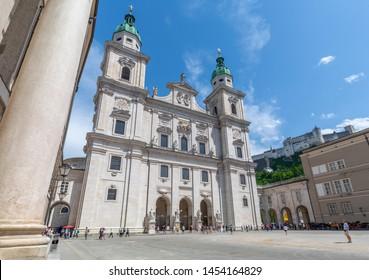 View of Salzburg Cathedral from Domplatz, Salzburg, Austria, Europe 1-5-2019