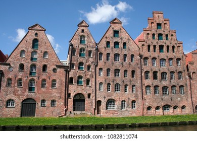 A view of the Salzspeicher near the rive Trave in the city of Lubeck, Germany