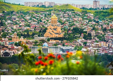 View of Sameba church from the hill in Tbilisi, Georgia