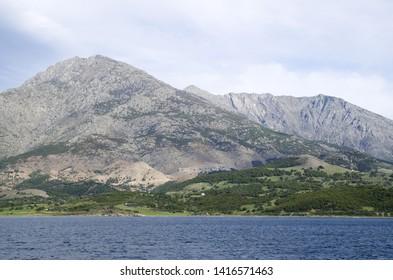 View of  Samothraki island  and mountain Saos in Greece from the sea