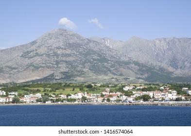 View of  Samothraki island  and port  Kamariotissa in Greece from sea