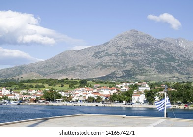 View of  Samothraki island  and port  Kamariotissa from the ferry in the sea,  Greece