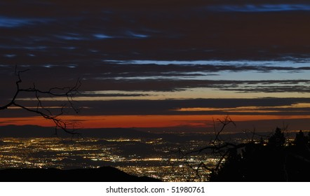 view of san bernardino at night,from atop the san bernardino mountains,on the way down from big bear resort,december 2009.