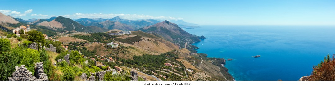View from San Biagio mountain on ancient town ruins and Tyrrhenian sea coast near Maratea, Basilicata, Italy