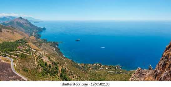 View from San Biagio mountain on Tyrrhenian sea coast near Maratea, Basilicata, Italy