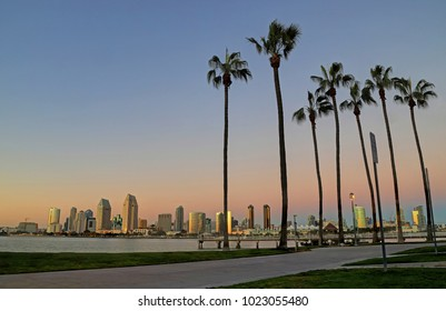 A view of San Diego, California from Coronado Island at dusk.