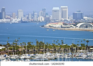 View of San Diego skyline hazy atmosphere from Point Loma Island California.