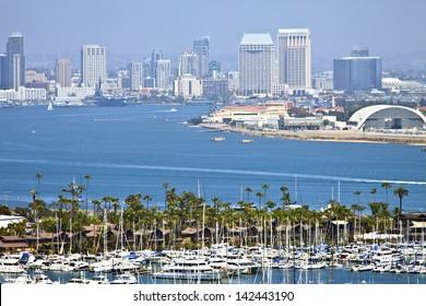 View of San Diego skyline hazy atmosphere from Point Loma Island California.