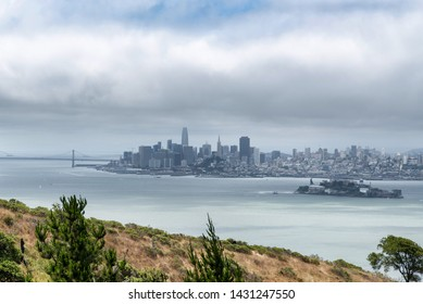 View of San Francisco and Alcatraz from Angel Island on hike to Mt. Livermore