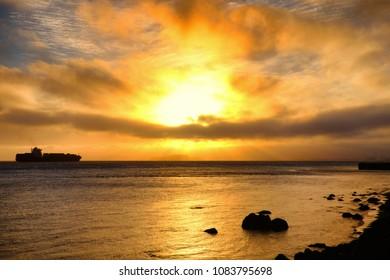 View of San Francisco Bay Area at sunset, San Francisco, California, USA
