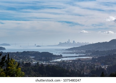 View of San Francisco Bay and skyline from Marin County