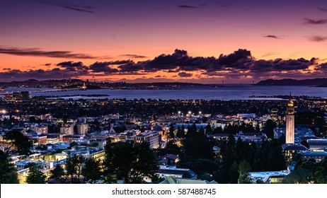 A view of the San Francisco bay from top of the Berkeley hills on a spring evening