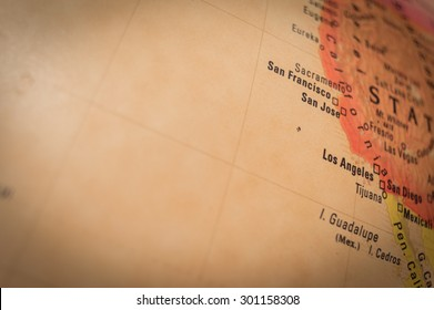 View of San Francisco on a geographical globe. (vignette)