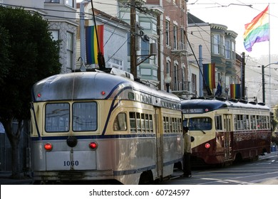 View of San Francisco with an orange historic tram