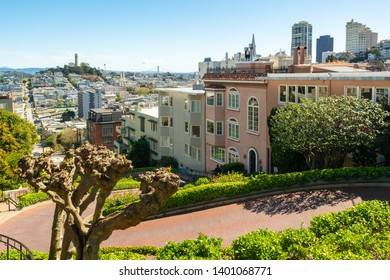 View of San Francisco photographed from the famous Lombard street. California, USA