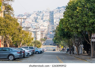 View of San Francisco street from Lombard street. California, USA, November 2018