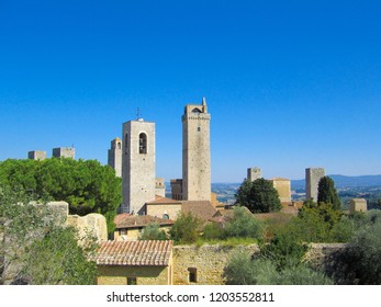 View of San Gimignano, a walled medieval hill town in Siena, Tuscany, Italy