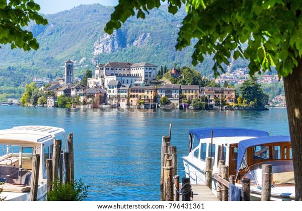 View of San Giulio island at Lake Orta, Piedmont, Italy