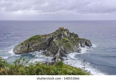 View of San Juan de Gaztelugatxe, Basque Coast in Spain