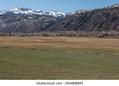 View of the San Juan Mountains in western Colorado with snow in early spring