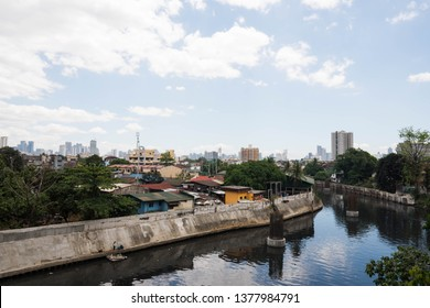 a view of San Juan river and foundation of Metro Manila Skyway