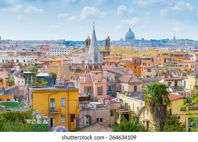View of San Marcello al Corso church and Rome roofs from Pincio