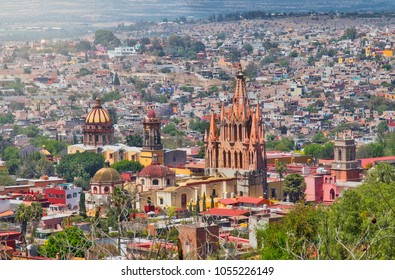 """a view of San Miguel de Allende, we can see  the Parrish of San Miguel archangel, named """"La Parroquia""""   San Miguel de Allende, Guanajuato. Located in a small magical town in the historical center"""
