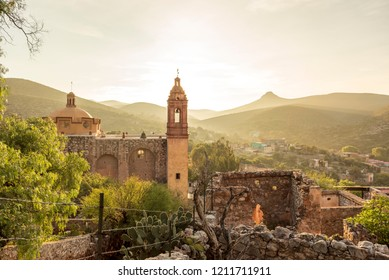 View of San Pedro hill at sunrise in San Luis Potosi, old town like Real de Catorce, Mexico (Cerro de San Pedro pueblo magico)