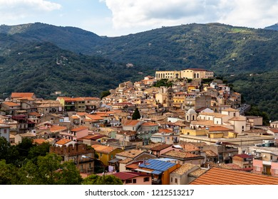 View of San Piero Patti, a beautiful village in the Nebrodi Mountains Park in Sicily, province of Messina, Italy