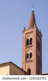 view of san Siro old church bell tower , shot in bright winter light at Cremona, Lombardy,  Italy