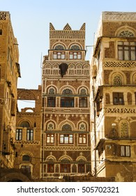 View to Sanaa traditional houses and old city, Yemen