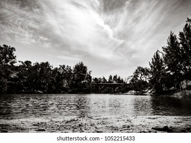 View from a sandbank, black and white