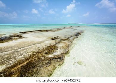 View to sandbank and Fulhadhoo island from Fehendhoo island, Baa Atoll, Maldives, April 2017.