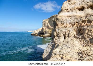 View of sandstone cliffs near Carvoeiro in Portugal