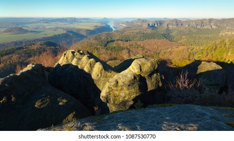 View of a sandstone rock with Elbe river on background, Saxony Switherland´s National Park
