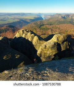 View of a sandstone rock with Elbe river on background