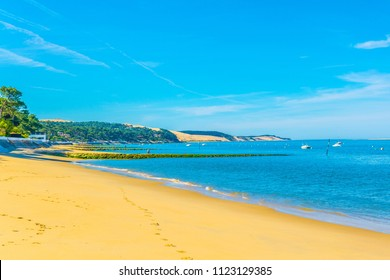 View of a sandy beach in Arcachon, France