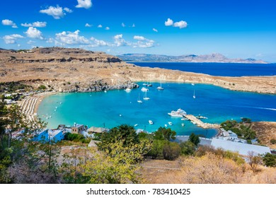 View of sandy beach in Bay of Lindos (Rhodes, Greece)