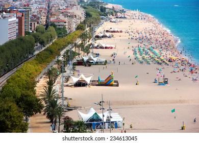 View of the sandy beach coast Costa Brava,Catalunya,Spain