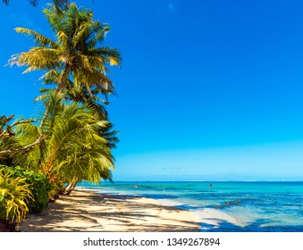 View of the sandy beach in the lagoon Huahine, French Polynesia. Copy space for text