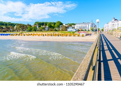 View of sandy beach from pier in Binz summer resort, Ruegen island, Baltic Sea, Germany