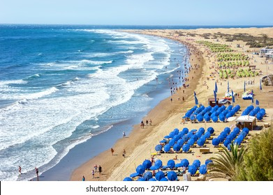 View of sandy beach Playa del Ingles. Maspalomas. Gran Canaria