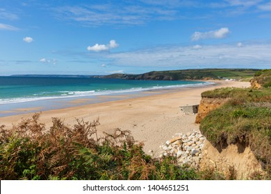 View of the sandy beach at Praa Sands in Cornwall, England, UK on a clear sunny day.